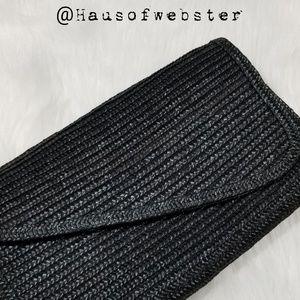 Black raffia seagrass clutch